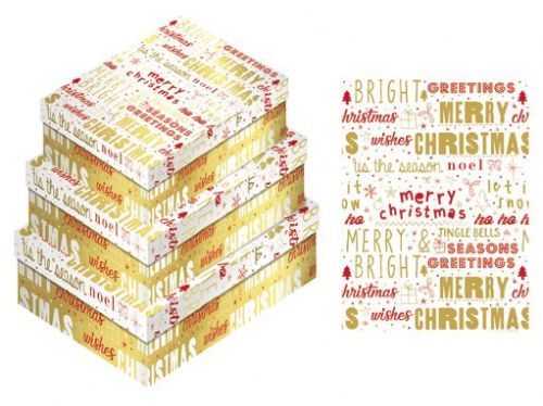 Red / Gold Christmas Wishes Gift Box